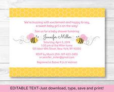 Pink Bumble Bee Printable Baby Shower Invitation Editable PDF