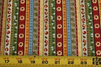 """By 1/2 Yd, Colorful Stripes on Quilt Cotton, Fabri-Quilt/""""Classic Country"""" N2637"""