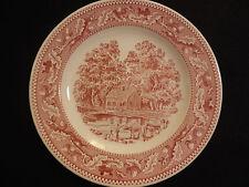 "Vtg Royal Ironstone Memory Lane Red Pink Transferware 10"" Dinner Plates Set of 2"