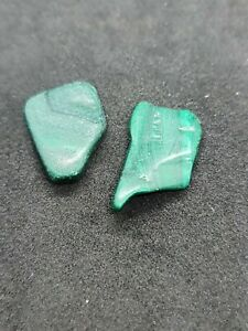 2 pc / pure Healing with Malachite  tumbled stone  Energy size 10 to 15 mm