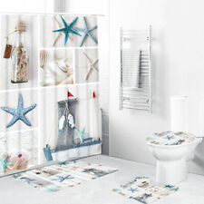 Waterproof Bathroom Blue Sea Life Seashell Shower Curtain 3pcs Toilet Mats  N