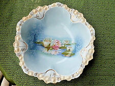 "RS PRUSSIA SIGNED RED MARK REFLECTING WATER LILLIES 11"" BOWL W/BLUE BCKGRND."