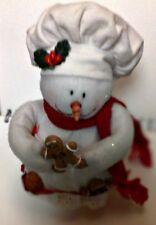 Handcrafted Snowman Baker with HollyHolding Ginger BreadMenFelt Figurine