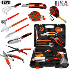 12Pc Garden Hand Tools Set Ergonomic Mechanics Kit Shear Saw Knife Rake Pruning#