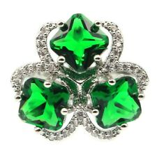 Charming Green Emerald White CZ Ladies Present Silver Ring 7.25