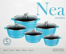 5pc Ceramic Coated Non Stick Die-Cast Casserole Set INDUCTION Cookware T BLUE SH