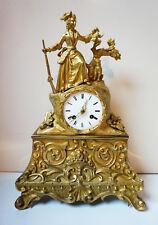 19th French Rococo style - Louis Phillipe Gilt-Bronze Mantle Clock Hunting Scene
