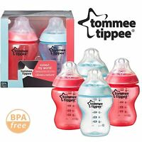4 x Tommee Tippee Colour My World 260ml Decorated Baby Boy Feeding Bottles Red