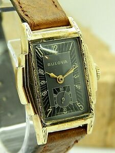 Vintage Serviced 1938 Bulova Commentator wrist watch cal 10AE 15 jewel art deco