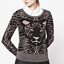 NWT French Connection Sz Small Metallic Black/Gold Tiger Sweater