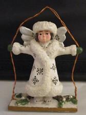 Vtg RARE White Angel on a Swing Christmas Ornament Pam Schifferl
