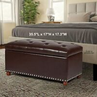 Tufted Brown Storage Bench Ottoman Large Plush Seat Faux Leather Room Footstool