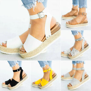 Summer Women's Ankle Strap Flatform Sandals Platform Espadrilles Wedges Shoes UK