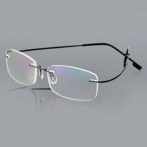 Ultralight Titanio senza Montatura Rettangolare Lettura Occhiali da Vista