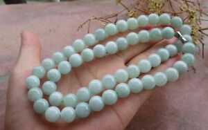 10mm  Certified Green Burma Natural A JADE Jadeite Beads Necklace 21 inches 项链