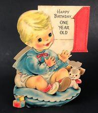 Vtg 40s 50s First 1st Birthday Card Hallmark Little Boy Dog Standing Patty Cake
