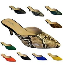 Ladies Women Animal Print Suede Low Kitten Heels Slip On Party Shoes Mules Size