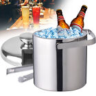 Double-Wall Stainless-Steel Insulated Ice Bucket With Lid+Ice Tong Beer Wine1.3L