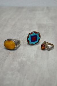 Lot Of Vintage Sterling Rings Silver Ring Amber Coral Lapis Lazuli Turquoise