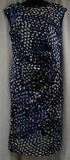 BLUE/BLACK/WHITE ABSTRACT DESIGN S/LESS SHAPER DRESS SIZE 14