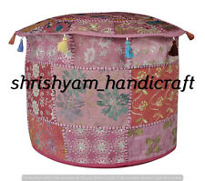 "Indian Vintage Khambhadia Handmade Patchwork Boho Ottomans Stool Pouf Cover ""22"