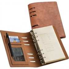Edles Lederoptik Notizbuch mit vielen Extras / Ringbuch -NEU-
