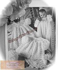 Vintage Knitting Pattern Baby's 6 Piece Layette Shawl Coat Dress etc! FREE P&P!!