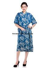 Indian Block Print Cotton Indigo Print Nightwear Kimono Robe Bath Sexy Intimates
