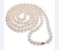 36 inch 7-8mm AAAAA perfect Akoya white pearl necklace 14k Clasp