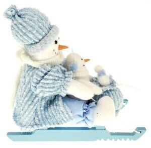 Snowmen On A Sled Christmas decor plush figurine holiday decoration 10x9 inches