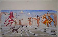 Aquarelle Originale JANINE JANET Projet de Décors Surréaliste Danseurs 1950
