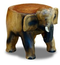 Flower Stand Elephant Colonial Africa Wood Side Table Podium Round