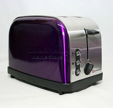 Purple 900W 2 Two Slice Wide Slot Toaster Quick Toast Defrost Reheat Function