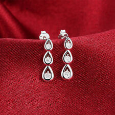 Waterdrop Fashion Women 925 Silver Crystal Rhinestone Ear Earrings Jewelry Gifts