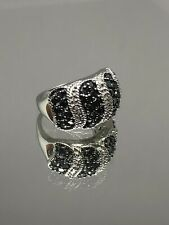 Band Right Hand Ring 925 Size 7 Sterling Silver 🖤Black and White Diamond Wide