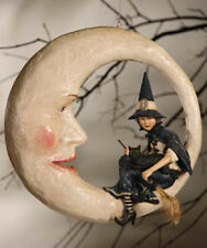 "16"" Bethany Lowe Halloween Witch on Moon Paper Mache Resin Figure Glitter"