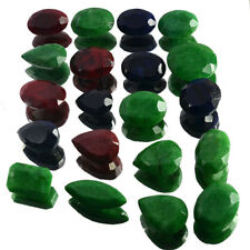 592 Ct Natural Red Ruby Green Emerald & Blue Sapphire Mix Gems Wholesale~20Pcs