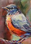 Robin 9 ACEO Mini Oil Painting, Robin 9 Song Bird by Lee Ellen Smith