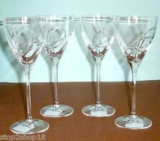 Vera Wang Wedgwood LOVE KNOTS 4 Wine Glasses Crystal Etched Bow New Boxed