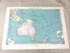 Vintage Map Australian Polynesia Shipping Ports  Maritime Nautical Original