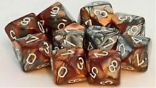 Chessex Dice Sets Gemini Copper & Steel White Ten Sided Die d10 Set10 CHX 26224