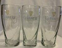 3 Guinness 16oz Pint Gravity Glasses Beer Embossed HarpBeer Glass
