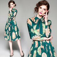 Women's Vintage Fashion Retro Ladies Long Sleeve Casual Summer Knee Length Dress