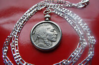 "1937 Buffalo Nickel Coin Bezel Pendant on an 18"" 925 Sterling Silver Link Chain"