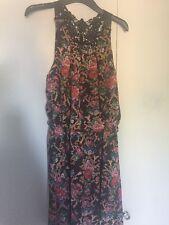 Women's Primark Size 14 Lace Back Short Sleeve Floral Pattern Floaty Dress