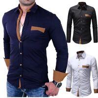 Fashion Luxury Men's Slim Fit Shirt Long Sleeve Dress Casual Shirts Tops T-Shirt