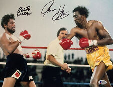 Tommy Hearns Roberto Duran Dual Signed 11 x 14 Photo Autographed Beckett BAS 9