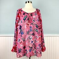 Size 3X Style & Co Pink Floral Peasant Tunic Top Blouse Shirt Women's Plus NWT