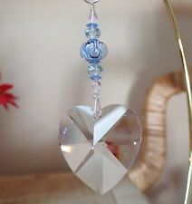 =^..^= Suncatcher made with 40mm Swarovski Heart Crystal Blue Entwined Hrts LOGO