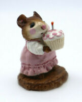 Wee Forest Folk Birthday Girl Mouse with Cupcake Pink Dress M-99 Retired WWF